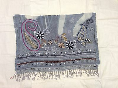 Boiled Wool Shawl Stole Scarf Hand Embroidery Paisley Jamawar Antique Design 283