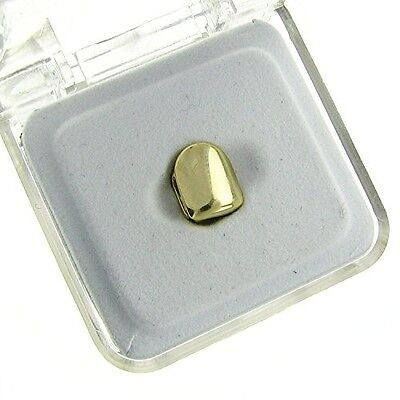 Mens 24k Gold Plated Finish Canine Single Tooth Clip Cap Grillz Custom Hip Hop