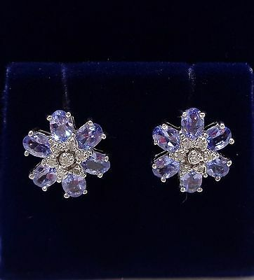Tanzanite and Diamond Cluster Stud Earrings in 9ct White Gold