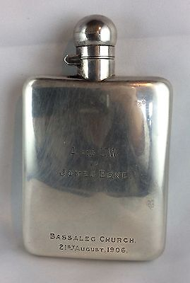 Edwardian Stokes & Ireland Pocket Flask Chester 1905 Flachmann Flacon Silber 925
