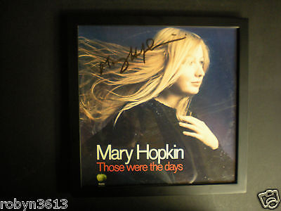 """Signed Album Lp Record Cover Mary Hopkin """"those Were The Days"""" Framed  & Coa"""