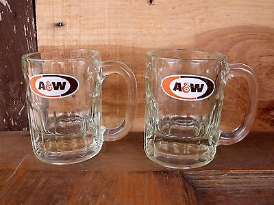 2 Vintage Clear Chunky Glass 8 oz. A&W Root Beer Glasses Mugs