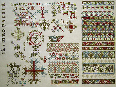 Beautiful Dutch Completed Cross Stitch Sampler Antique Style Finished