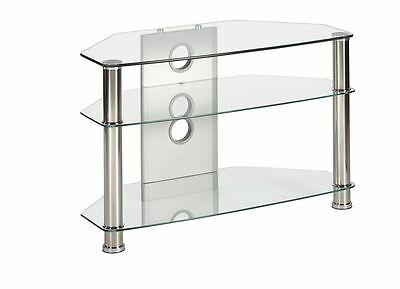 clear glass tv stand corner unit for 26 inch to 37 inch LED LCD flat tv screens