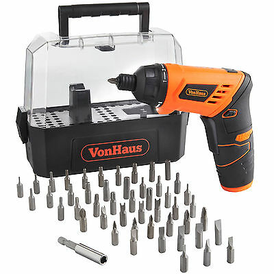 VonHaus 50pc 3.6V Power Cordless Li-Ion Electric Screwdriver & Bit Set with Case