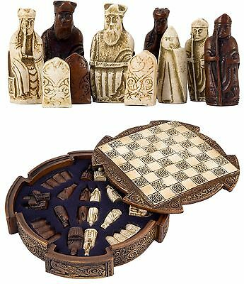 Vintage Chess Board Set Deluxe Stoneware Celtic Antique Game Box With Chessmen