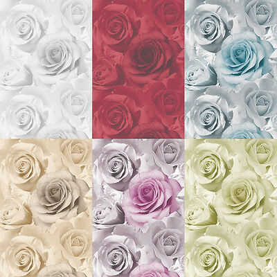Muriva Rose Madison Feature Flower Wallpaper Red Blue Beige Pink Green Soft Grey