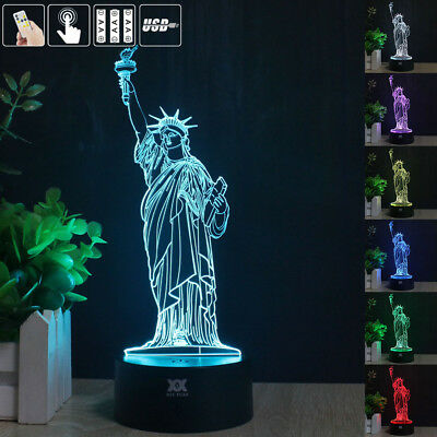 New York Statue of Liberty 3D Acrylic LED Night Light Touch Table Desk Art Lamp