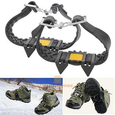 Anti Slip Snow Ice Climbing Spikes Grips Shoes boots Cover Cleats Crampon 4-Stud