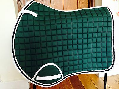 Quality Quilted Dark Green With White Edging Saddle Pad - Size Cob