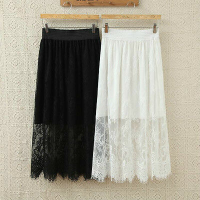 Women Lace Half Slip Lining Hollow Out Floral Underskirt Petticoat Midi Safety