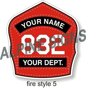 "Fire Helmet Shield sticker - Style 5 - Custom just for You! 3.7""x4"""