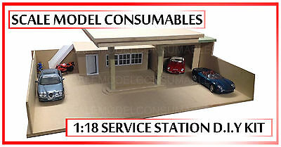 1:18 1-18 1/18 118 Scale Mdf Small Diorama Bare Base Service Station Kit Bare