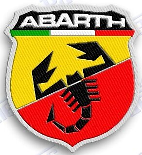 FIAT ABARTH 5.0 - AUTO CAR  SPORTS iron on embroidery patch 2.1 X 1.9 italy  ..