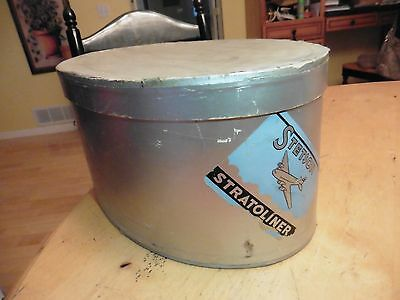 Vintage Stetson Stratoliner oval Hat box advertising Antique travel case silver
