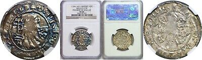 1396-1421 Rhodes Silver Gigliato Philibert Of Naillac NGC VF 20 Malloy-27B