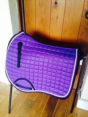 Quality Quilted Purple With White Edging Saddle Pad - Size Full
