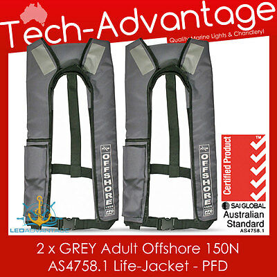 2 X Adults Grey 150N Offshore Pfd Inflatable Safety Boat Life Jackets