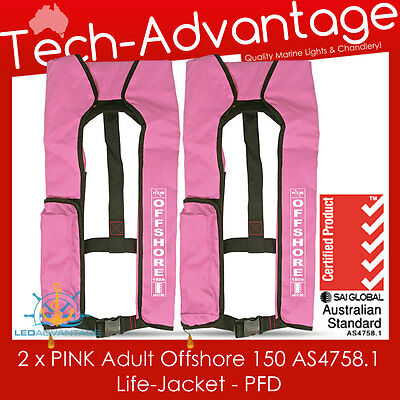 2 X Adults Pink 150N Offshore Pfd Inflatable Safety Boat Life Jackets
