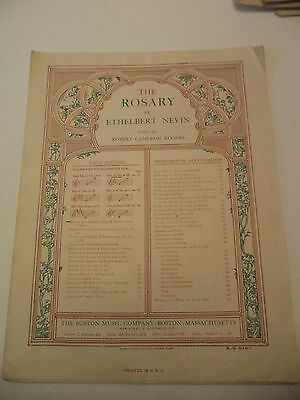 The Rosary Old Antique Piano Sheet Music Song Ethel Nevin English French German