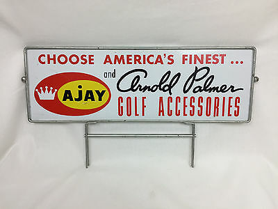 Vintage 60's ARNOLD PALMER AJAY GOLF Sign 20x6 3/4 Metal Double Sided and Frame