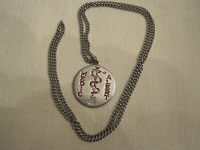 "Vintage Medical Alert Silver Necklace Pendant ""Allergic To Penicillin"" 24"" Chain"