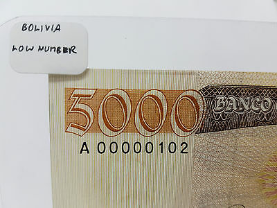 LOW NUMBER 00000102 Scarce Note! Bolivia Great Note for a Gift!