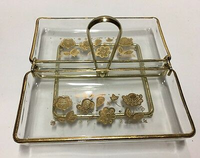 Vtg Mid-century Culver Glass Trays Caddy Serving Set Gold Rimmed