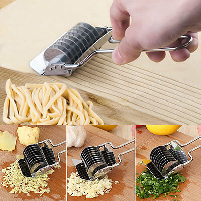 Handheld Stainless Steel Noodle Pasta Spaghetti Maker Dough Cutter Rotary Press