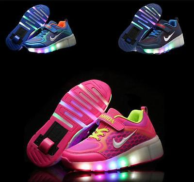 Kids LED Light Wheels Retractable Roller Skate Shoes Girls Boys Youth Sneakers