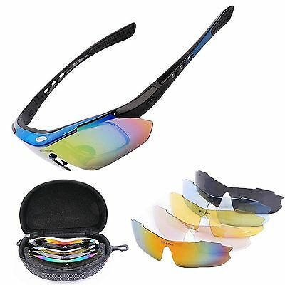 Wolfbike 5 Pair Lens Polarized Goggles UV 400 Cycling Sunglasses Bicycle Glasses