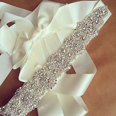 Luxury Bridal Rhinestone Sash Belt Wedding Dress Waist Belt Ivory Ribbon Bow