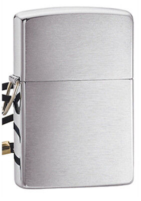 Zippo Brushed Finish Chrome Lighter w/ Loss-Proof Lead - 275 Genuine