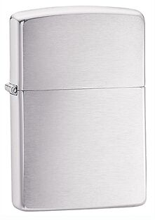 Zippo Classic Brushed Finish Chrome Lighter - Full Size 200 Genuine