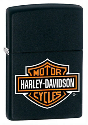 Zippo Harley-Davidson Black Matte Lighter - Full Size Logo Genuine