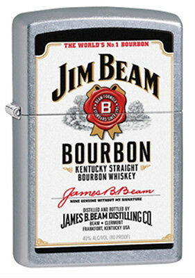 Zippo Jim Beam White Label Street Chrome Lighter - 28419 Genuine
