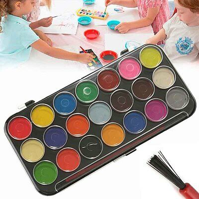 21 Colour Watercolour Set with Case & Brush Assorted Art Kids DIY Painting Craft