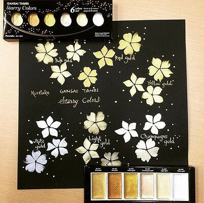 "Kuretake Watercolour Paint ""Starry Colors"" 6 Shimmering Shades of Gold"