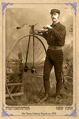 PENNY FARTHING BICYCLE Man Vintage Photograph A++ Reprint Cabinet Card CDV