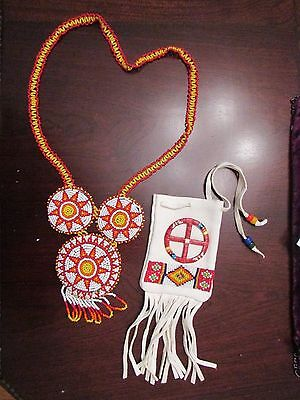 OGLALA SIOUX BEADED POUCH AND NECKLACE nicely beaded w. quilled medicine wheel
