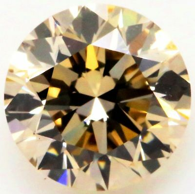CERTIFIED 0.91ct NATURAL FANCY DEEP CHAMPAGNE ROUND SHAPE LOOSE DIAMOND VS2