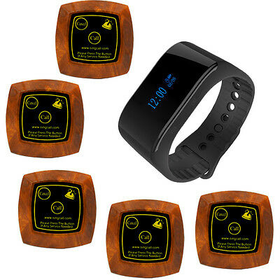 SINGCALL Wireless Restaurant Calling Pager Systems 1Waterproof Receiver 5 Pagers