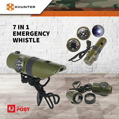 Xhunter 7 in 1 Emergency Whistle Survival Compass Thermometer Camping Hunting