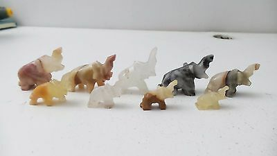 Carved Natural Stone Elephant Figurines Small Miniature Animal Africa Safari