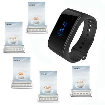 SINGCALL Wireless Calling System 1 Waterproof Watch Receiver,5 Pagers Restaurant