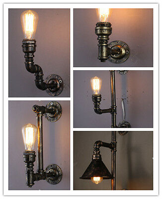Industrial Wall Pipe Lamp Retro Light Steampunk Vintage Sconce 1-Head Collection