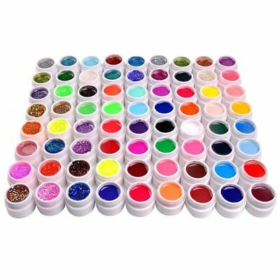 72 Mix Farbige UV Gel Nagel Set Deko Tipps Farbgel Nagelgel Pure&Strass Nail Art