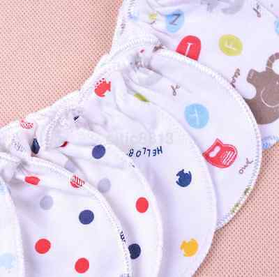 6pcs Anti Scratch Mittens Infant Soft Cotton Handguard Gloves For Newborn Baby
