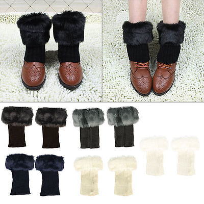 Hot Fashion Womens Crochet Knit Fur Trim Leg Warmers Cuffs Toppers Boot Socks UK