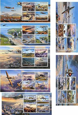 Airplanes Ii Aviation Art Air Combat Wwii 14 Souvenir Sheets Mnh Imperforated